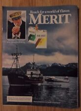 1984 Print Ad MERIT Cigarettes ~ Ship's Captain KODIAK Fishing Boat & Seaplane
