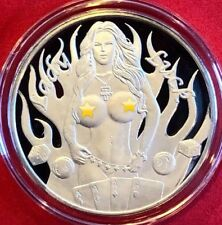 1 TROY OZ .999 SILVER NUDE LADY LUCK POKER BILLIARDS DICE ROUND COIN ONLY 1 EBAY