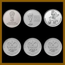 Russia 25 Rubles (3 Coin Full Set), 2018 FIFA World Cup, Soccer Comme Issue UNC
