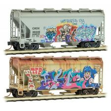 Micro-trains N 2-Bay Covered Hoppers Father's Day graffiti  2 cars MTL99305410