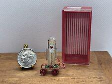 Vintage Artisan LEINER Santa Pull Toy & Display Case Dollhouse Miniature 1:12