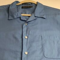 Daniel Cremieux Men's Short Sleeve Button Up Shirt XL Light Blue Pocket Casual