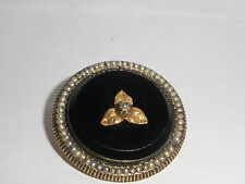 Great antique Victorian mourning 14k gold black jet onyx brooch pendant pearls