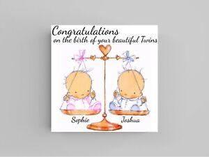 Handmade Personalised birth Twins  card congratulations baby new glitter