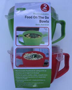 2 X Microwave Bowls 0.94 Noodle Bowl Pasta Soups Currys Bowls Set Of 2 BPA Free