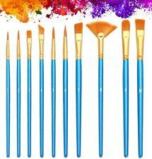 Acrylic Paint Brushes 10Pcs Set Artist Nylon Hair Paintbrushes for Oil Watercolo