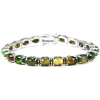 NATURAL AAA RAINBOW BLACK OPAL OVAL CABOCHON STERLING 925 SILVER BRACELET 7.75