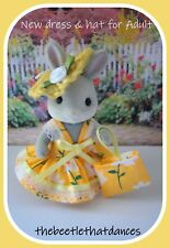 Sylvanian Clothes, New Strap Dress, Hat & bag A For ADULT Rabbit, Cat ETC