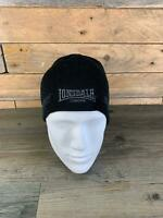 Lonsdale Mens Black Logo Pulldown Beanie Hat NEW