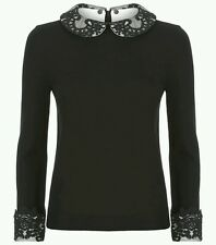 Alice + Olivia Lynda Sweater Collar Cuff Lace Wool Black Knit Top Size S NWOT