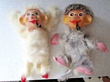 Two 1950s Pipe Smoking Chimps Monkeys Covered w/ Real Rabbit Fur VERY RARE!