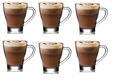 6 Pieces Latte Hot Chocolate Tea Coffee Clear Cup Glasses Mugs With Handle 295ml