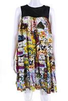 Rachel Roy Womens Silk Sleeveless Ruffle Graffiti Dress Black  Multi-Color 10