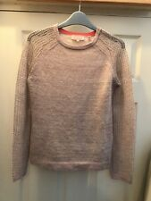 Ted Baker Pink Knitted Jumper W/ Sparkly Sheer Sleeves Sz 1/ Uk 8 Exc Condition