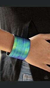 PAPARAZZI Jewelry-HOLOGRAPHIC OIL SPILL IRIDESCENT FAUX LEATHER WRAP BRACELET