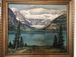 ANDREAS ROTH Oil Painting 1948 Lake Louise Rockies Alberta Canada NICE FRAME