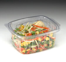 100 X 500cc CLEAR PLASTIC DISPOSABLE SALAD BOWLS CONTAINER WITH HINGED LIDS