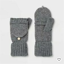 A New Day Women's Knit Flip-Top Mittens One Size Heather Gray New