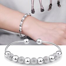 Silver Plated Good Luck Charm Wish Bead Open Bangle Cuff Bracelet Lucky Gift