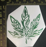 "420 Pot Leaf Decal Vinyl Sticker Tribal Marijuana Cannabis Weed 5"" HoloGreen"