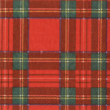 Christmas Cocktail Napkins Paper Beverage Napkins Party Supplies Plaid Red 40