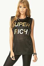 """NWOT FOREVER 21 """"SUPER RICH"""" SOLID BLACK PERFORATED MUSCLE TEE - Size US S"""