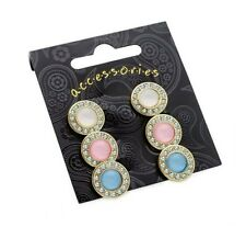 Round Stud Earrings with Crystals Pastel Colours