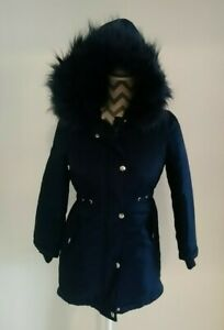Bluezoo Navy Blue girls Age 9-10 Faux Fur Lined Hooded Winter Warm Coat