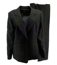 Kasper Womens Pant Suit 18 Black Pinstripe Wide Leg 2 Pc L/S Lined Career TLC