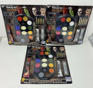 Halloween Face Make-up Kits For Monsters, Vampires, Witches, Skeletons, 3 PACK