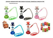 Crystal Hookah Water Pipe in Blue, Black, Red, Green Free Flavours and Charcoal