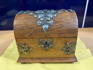 Holzschatulle mit Beschlägen Holzkästchen Holzbox Schmuckschatulle