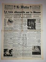 N1154 La Une Du Journal Le Matin 15 mai 1940 ruée allemande sur la Meuse