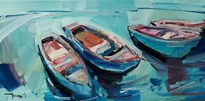 JOSE TRUJILLO Oil Painting IMPRESSIONISM CONTEMPORARY BOATS WATER SIGNED NR