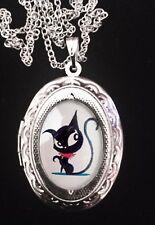 Doom Kitty Ruby Gloom Cat Silver Childrens Locket Necklace Goth Cute