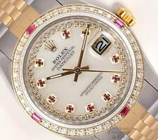 Rolex Men Datejust 36mm 18k TT/SS-White MOP Ruby String Diamond Dial-Ruby Bezel