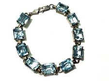 "Sterling Silver Blue Topaz Stone Bracelet 7"" Long"