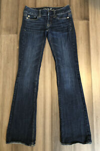 AMERICAN EAGLE OUTFITTERS Women's Artist Cotton Blend Bootcut Blue Jeans-Size 00
