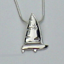 Laser Sailboat Pendant Necklace - Sterling Silver - By the Miami Opti Moms  USA