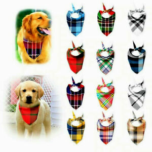 Dog Bandanas Large Pet Scarf Pet Bandana For Dog Cotton Plaid Washablebow Ties