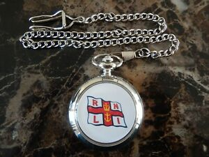 RNLI LIFEBOAT CHROME POCKET WATCH WITH CHAIN (NEW)