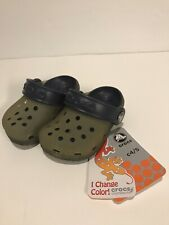 Crocs For Little Boys-Translucent Slip On Light Grey/Navy C4/5 (5� Long)