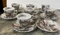 VINTAGE Yorkshire Staffordshire Hay Farm Ironstone 15 Pc Set Tea Cups Saucers