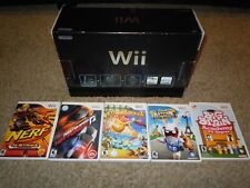 Nintendo Wii Original Black Console Manual Box Tested Complete System 5 Game LOT