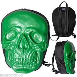 Kreepsville 666 Skull Backpack In Monster Green Natural Latex Horror