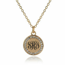 Personalized Engraved Initial Monogram Disk Necklace - Gold or Silver Plated
