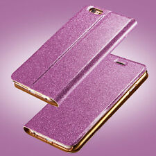 Bling Luxury PU Leather Case Stand Flip Card Wallet Cover For iPhone/Samsung