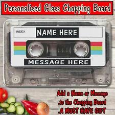 PERSONALISED MIX TAPE VINTAGE MUSIC GLASS CHOPPING BOARD CHRISTMAS GIFT ST780