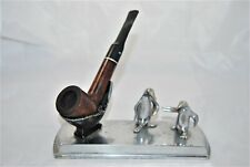 1950's chromed single pipe stand with 2 little penguins -Bonus pipe included