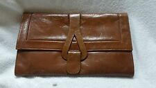 Leather Brown Clutch with Detachable Strap Womens Purse